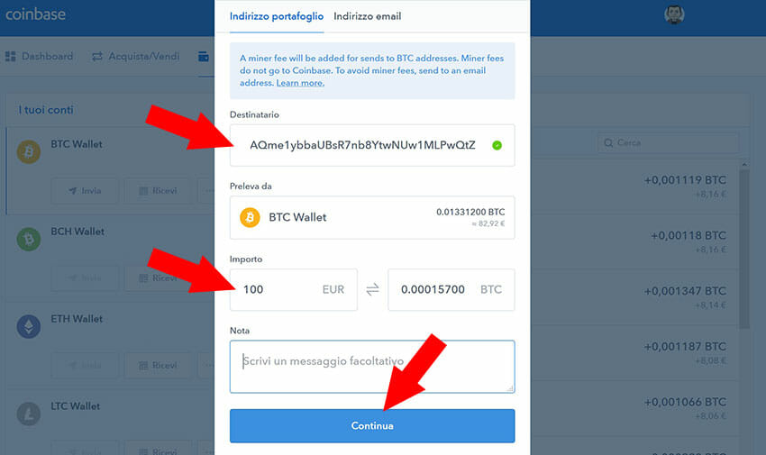 come inviare bitcoin
