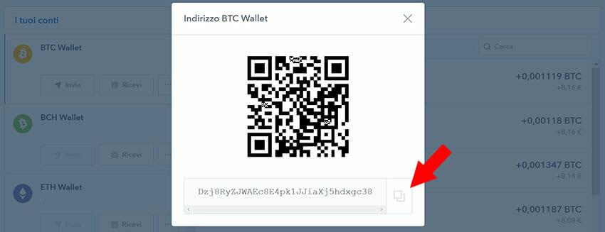 come ricevere bitcoin indirizzo wallet