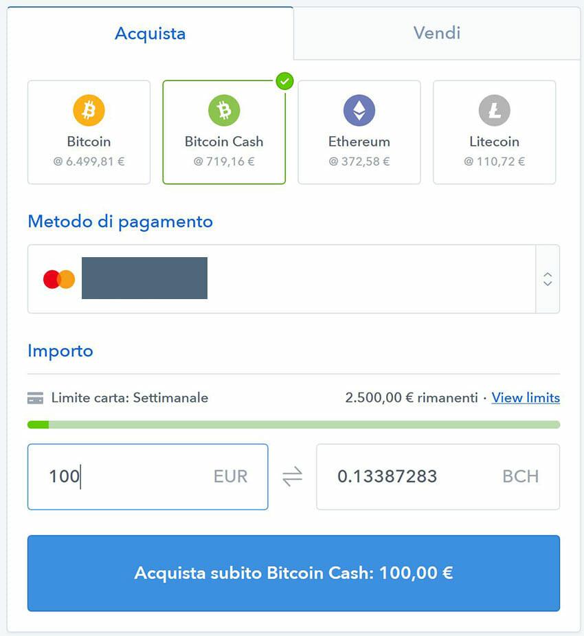 comprare bitcoin cash con coinbase