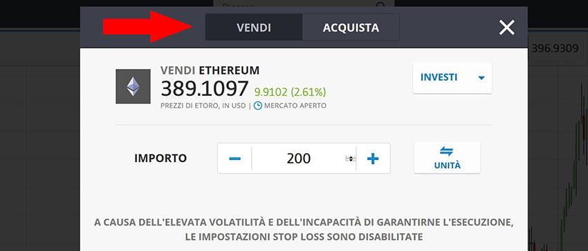 come vendere ethereum