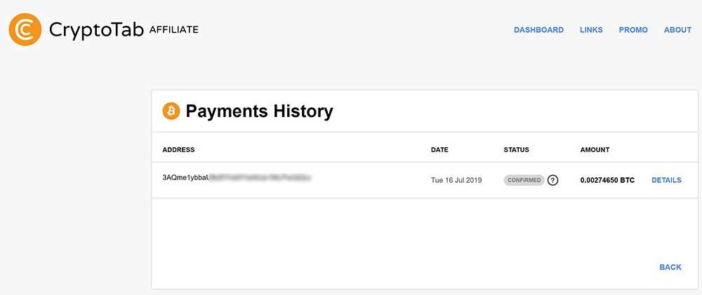 cryptotab richiesta pagamento