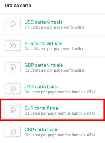 ordinare carta debito prepagata visa wirex-euro-usd