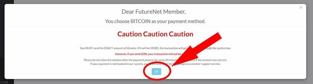 avviso avvertenza pagamento bitcoin