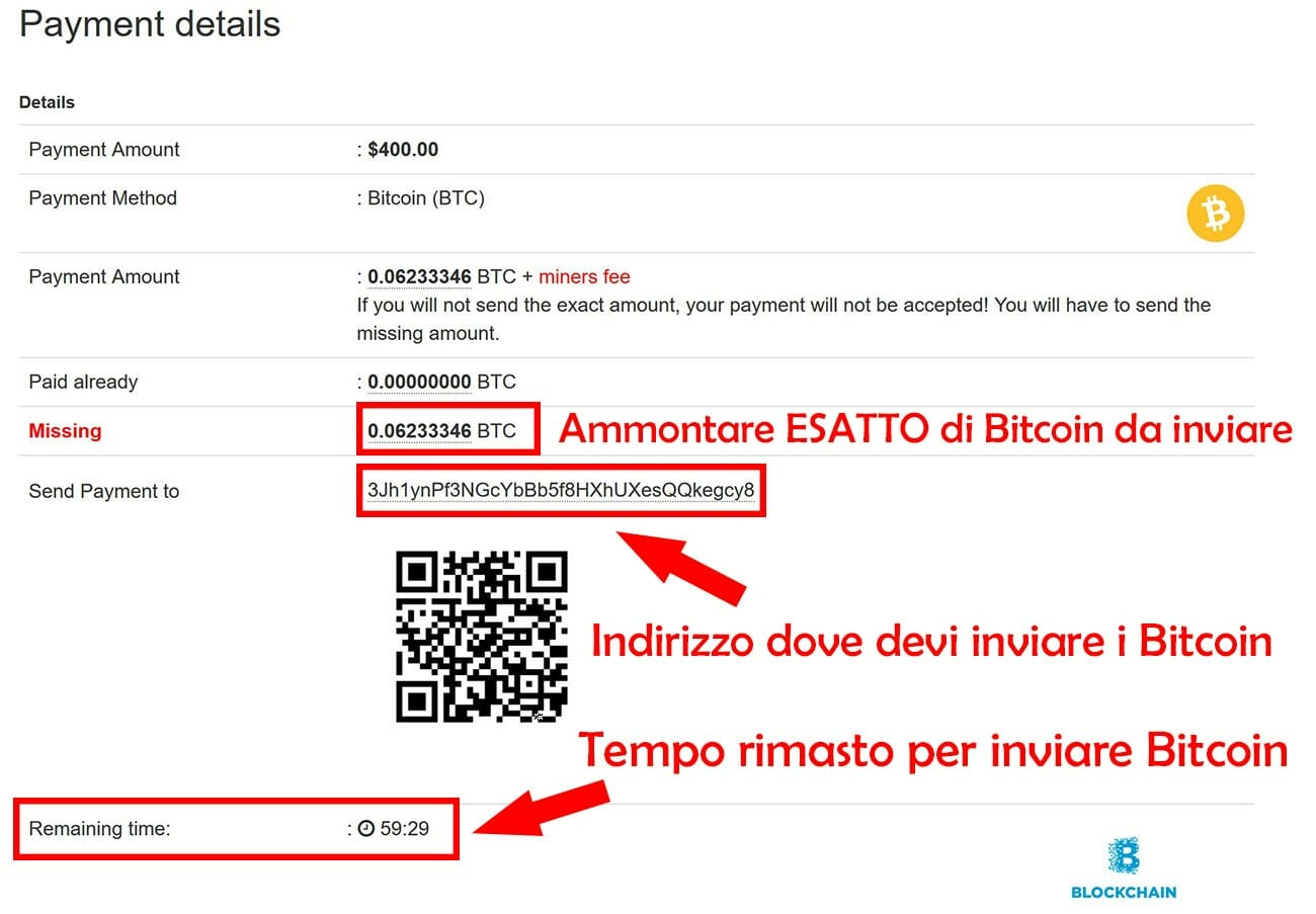 dettaglio pagamento in bitcoin