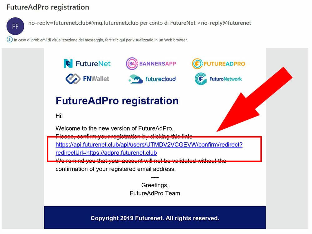 email conferma registrazione