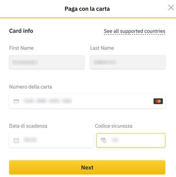 dati carta acquisto bitcoin