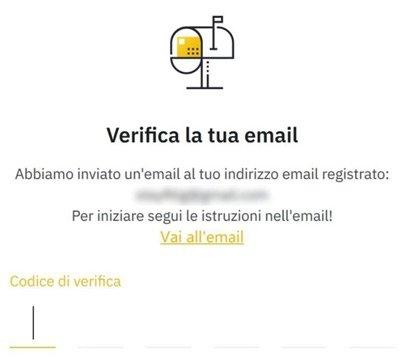 verifica email binance exchange