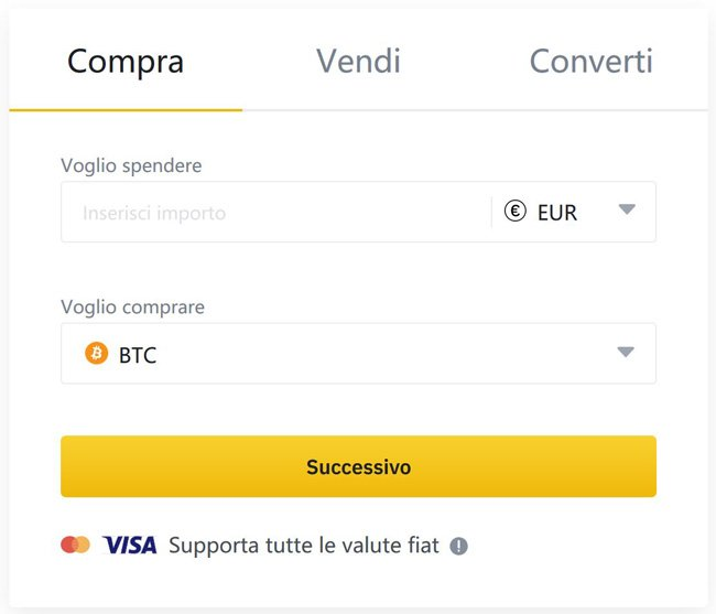 comprare cripto da carta binance.com