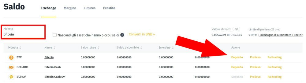 depositare bitcoin su binance