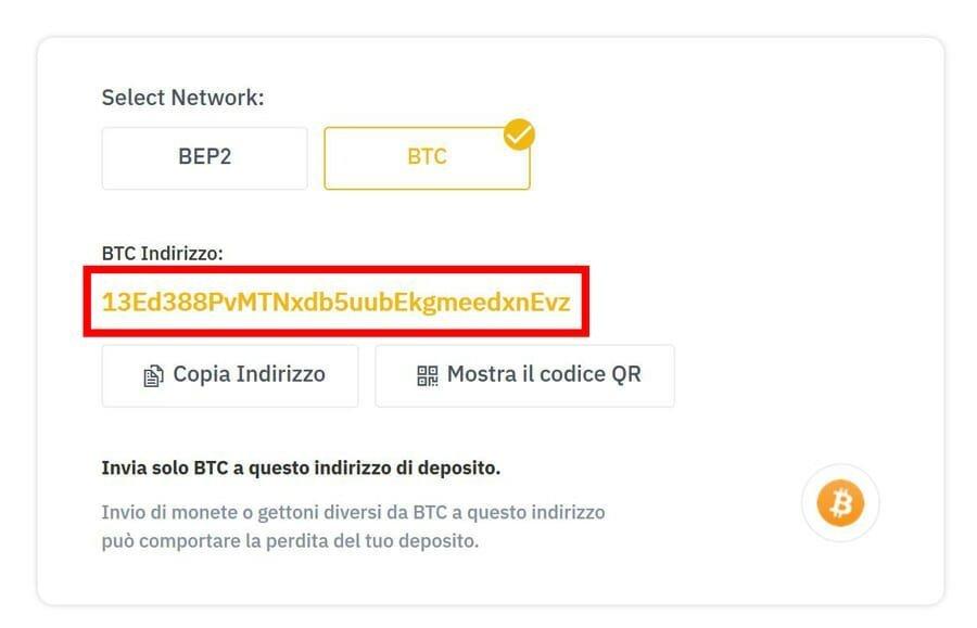 indirizzo bitcoin wallet deposito