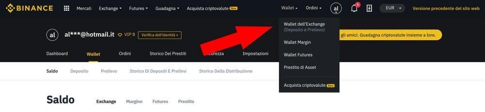 trasferire bitcoin su binance wallet