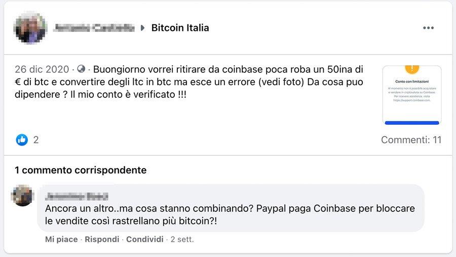 coinbase non fa inviare bitcoin