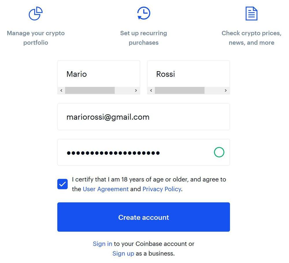 form registrazione coinbase