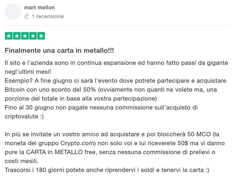 crypto.com opinione carta metallo mco