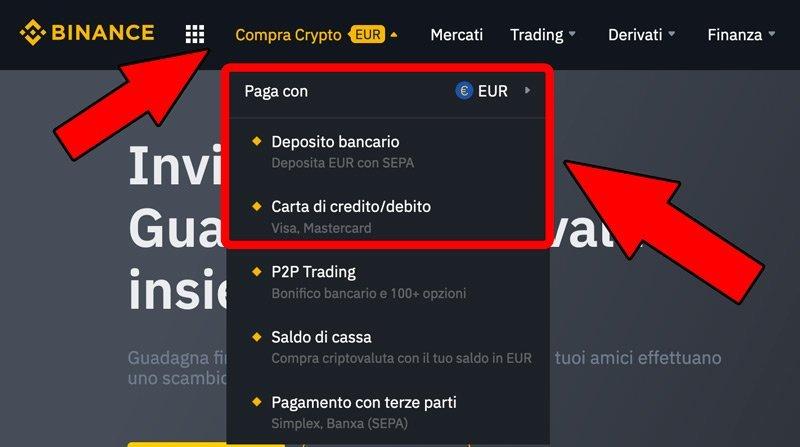 deposito euro comprare crypto binance